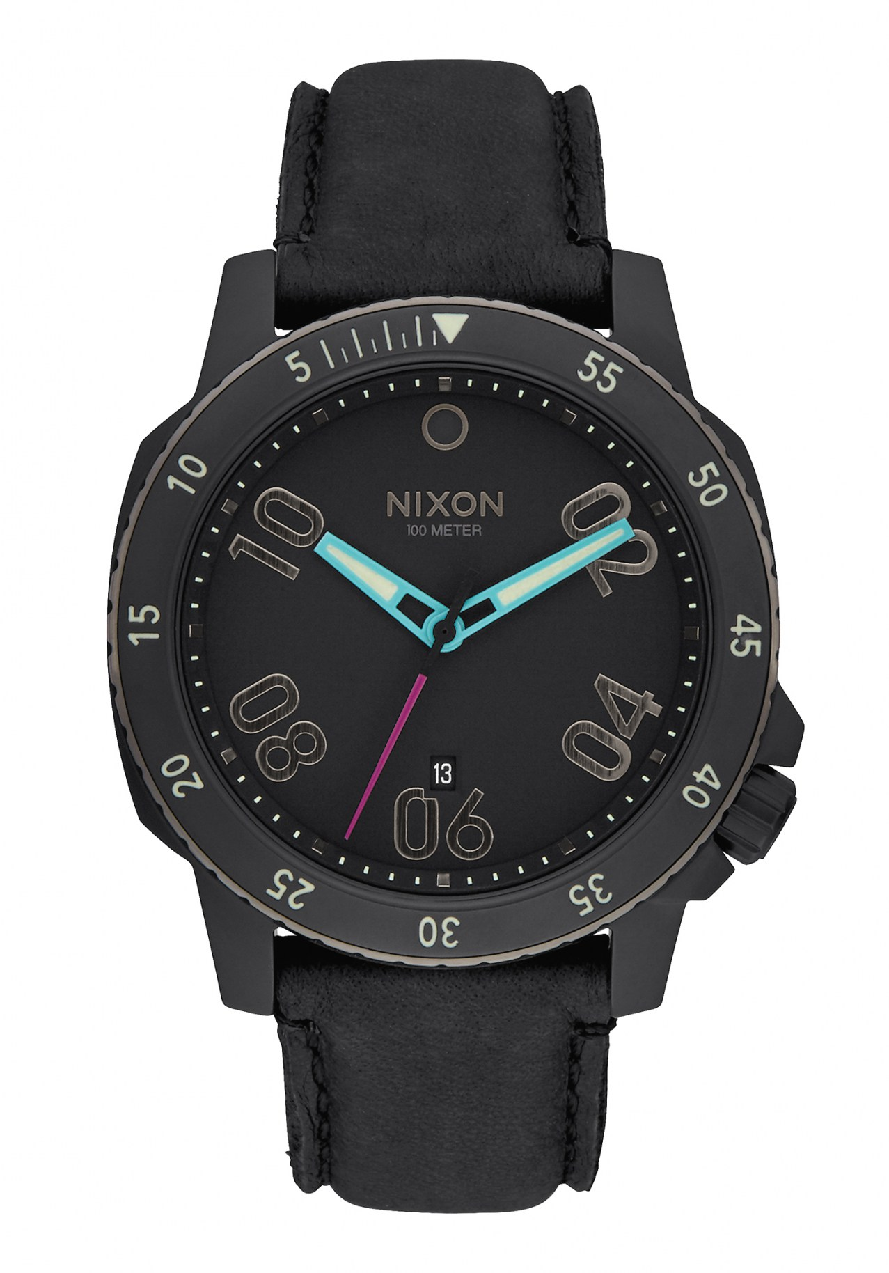 Nixon The Ranger Leather All Black / Multi Herrenuhr