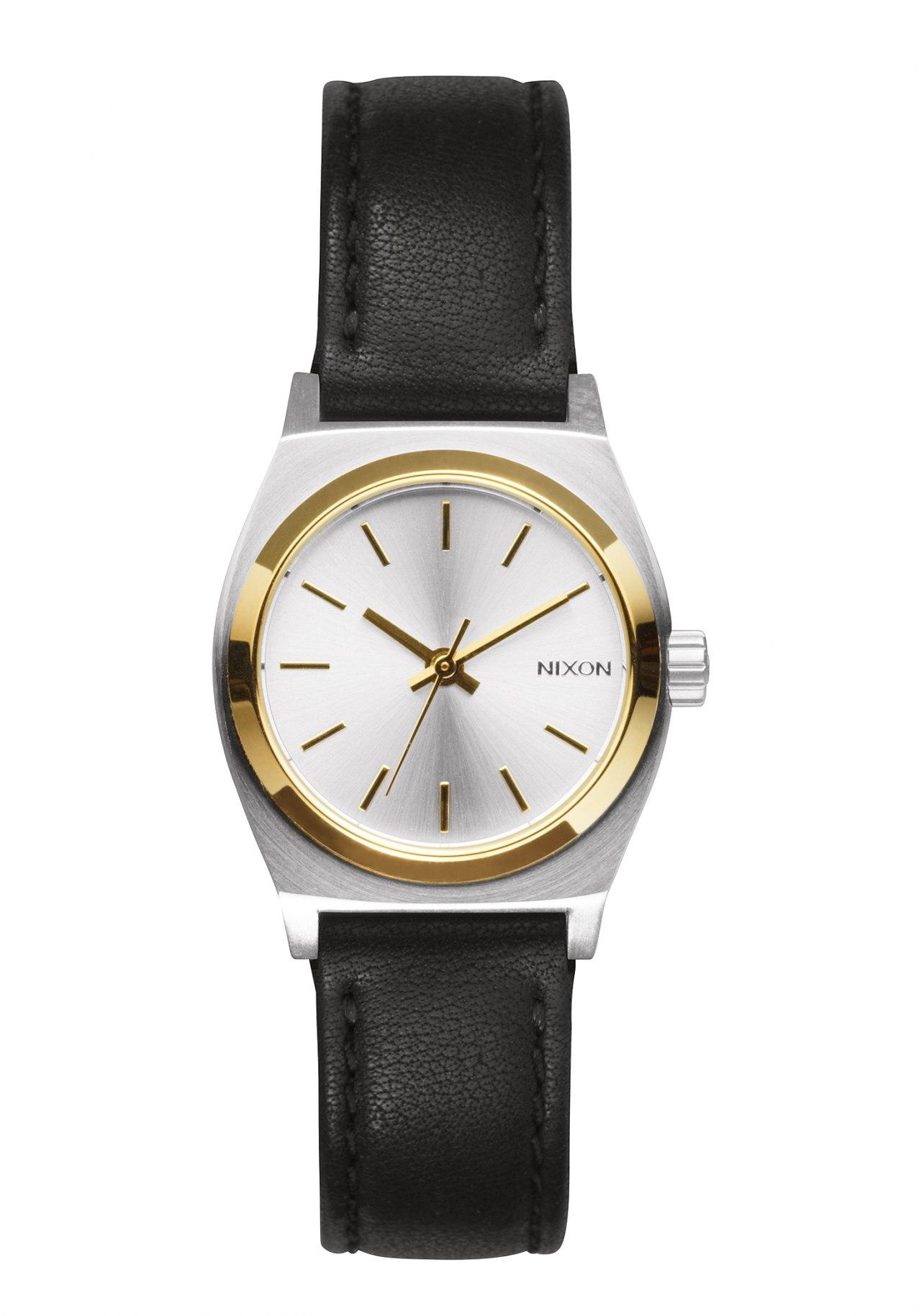 Nixon The Small Time Teller Leather Silver Gold Black Damenuhr