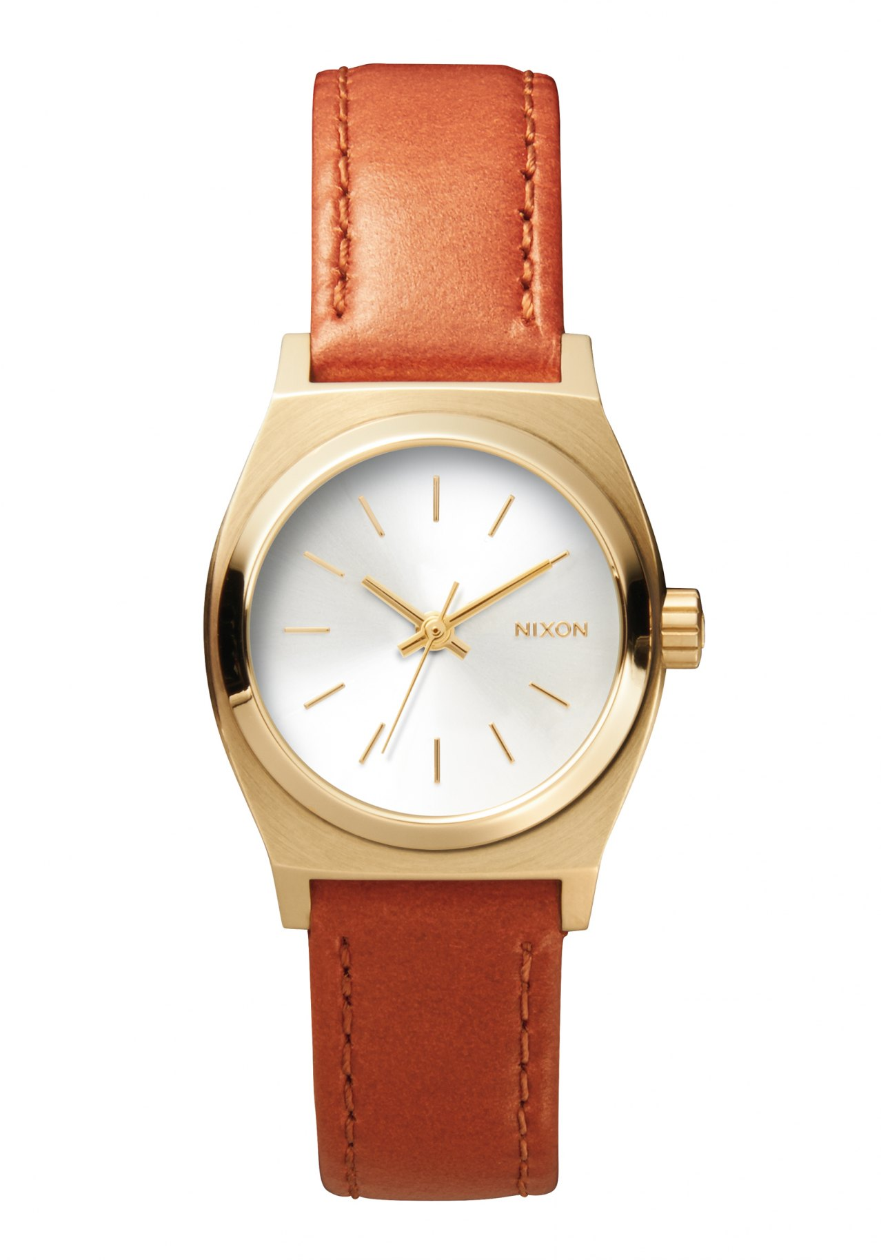 Nixon The Small Time Teller Leather Light Gold / Saddle