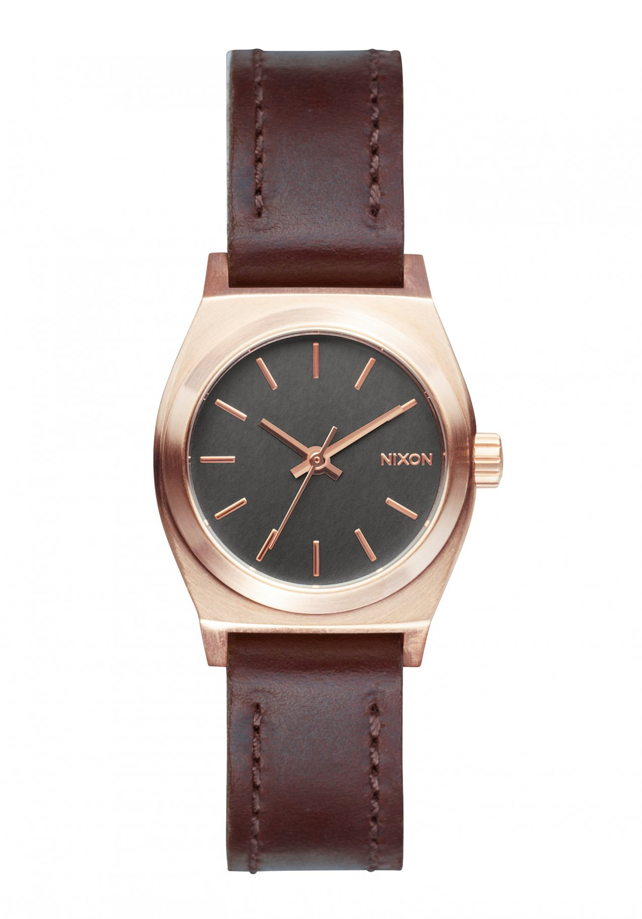 Nixon The Small Time Teller Leather Rose Gold Gunmetal Brown Damenuhr