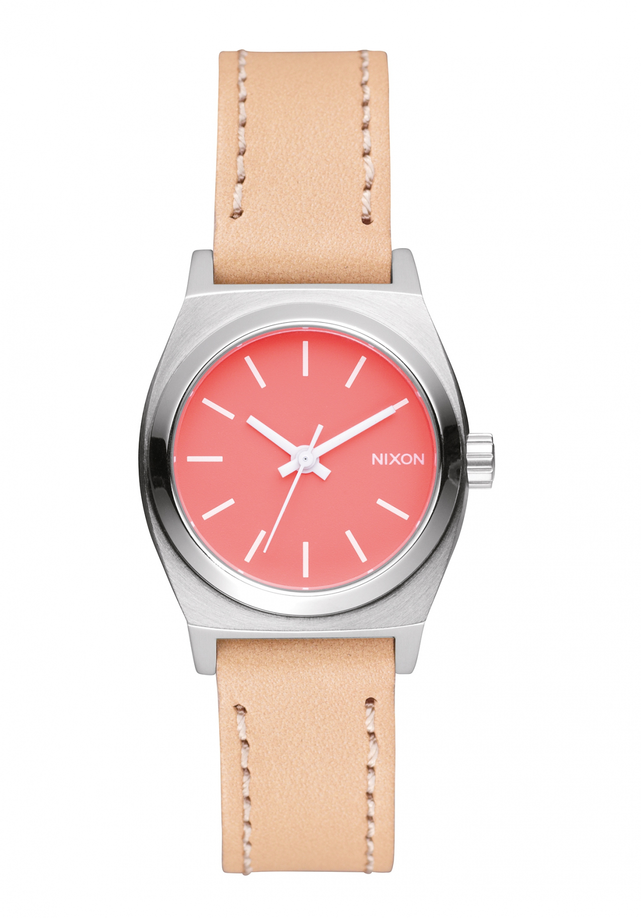 Nixon The Small Time Teller Leather Bright Coral Natural Damenuhr