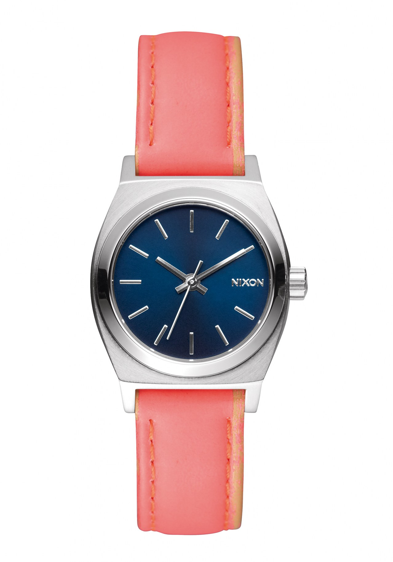Nixon The Small Time Teller Leather Navy Bright Coral Damenuhr