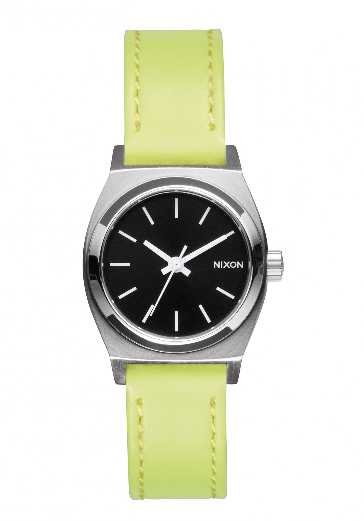 Nixon The Small Time Teller Leather Navy Neon Yellow Damenuhr