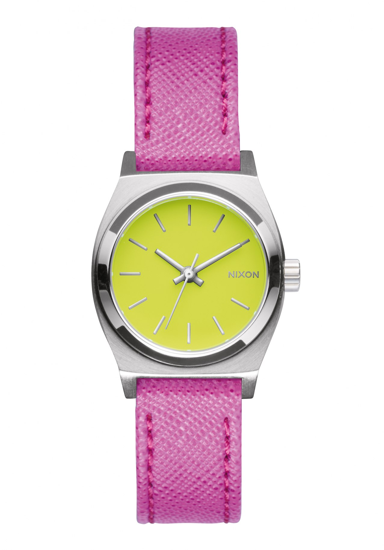 Nixon The Small Time Teller Leather Neon Yellow Hot Pink Damenuhr
