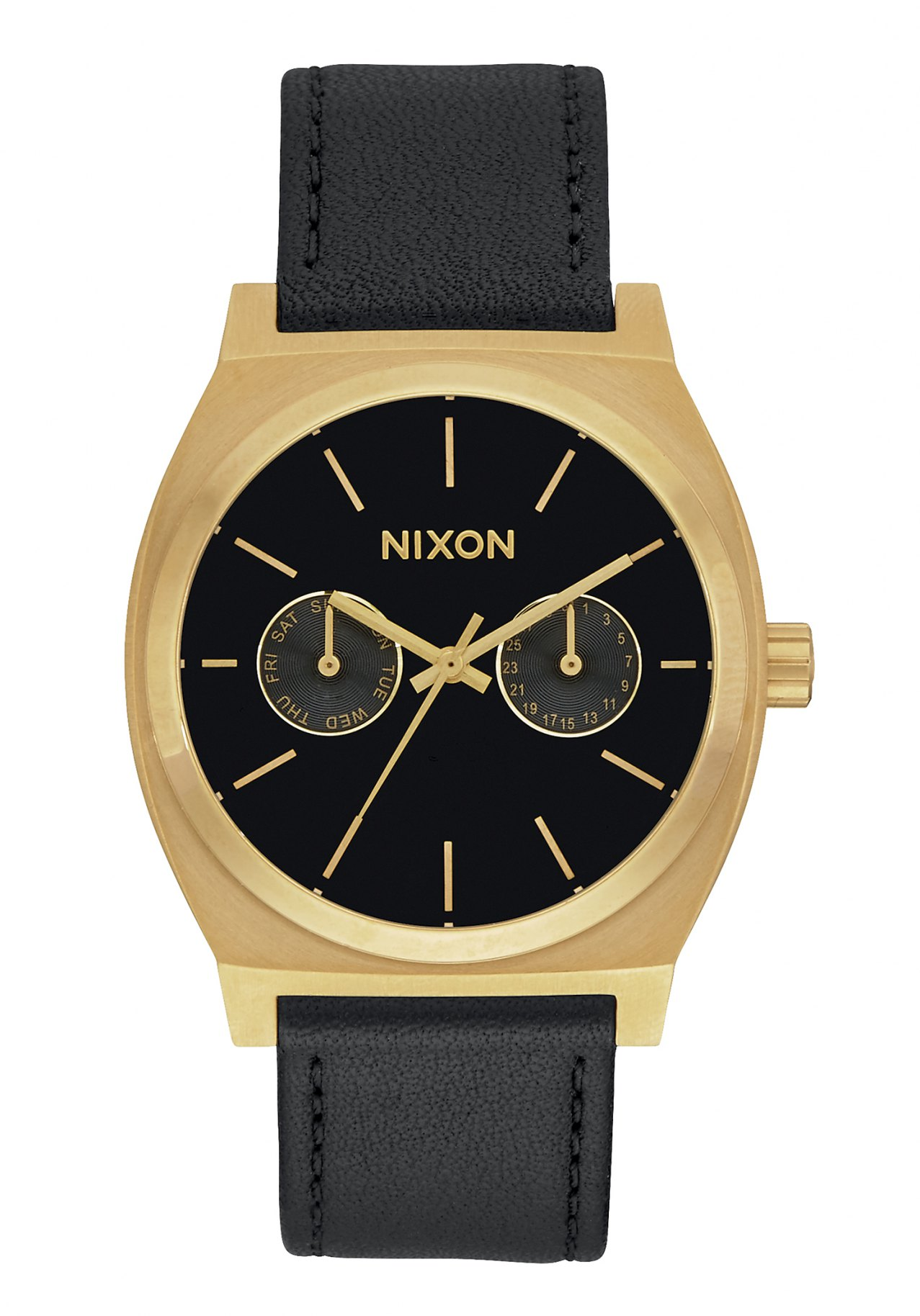 Nixon The Time Teller Deluxe Leather Gold / Black Sunray