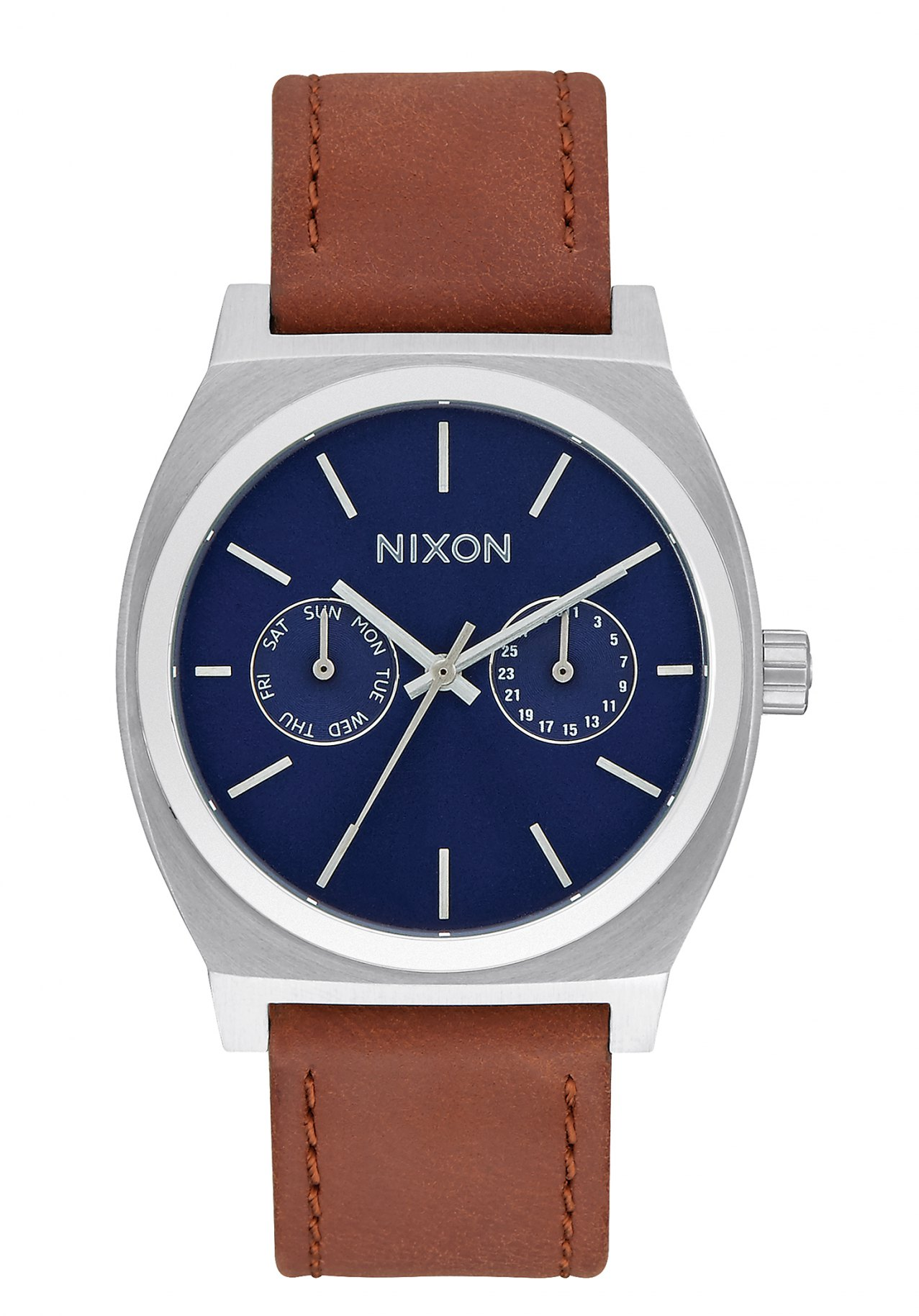 nixon the time teller deluxe leather navy sunray brown nur 149 00. Black Bedroom Furniture Sets. Home Design Ideas