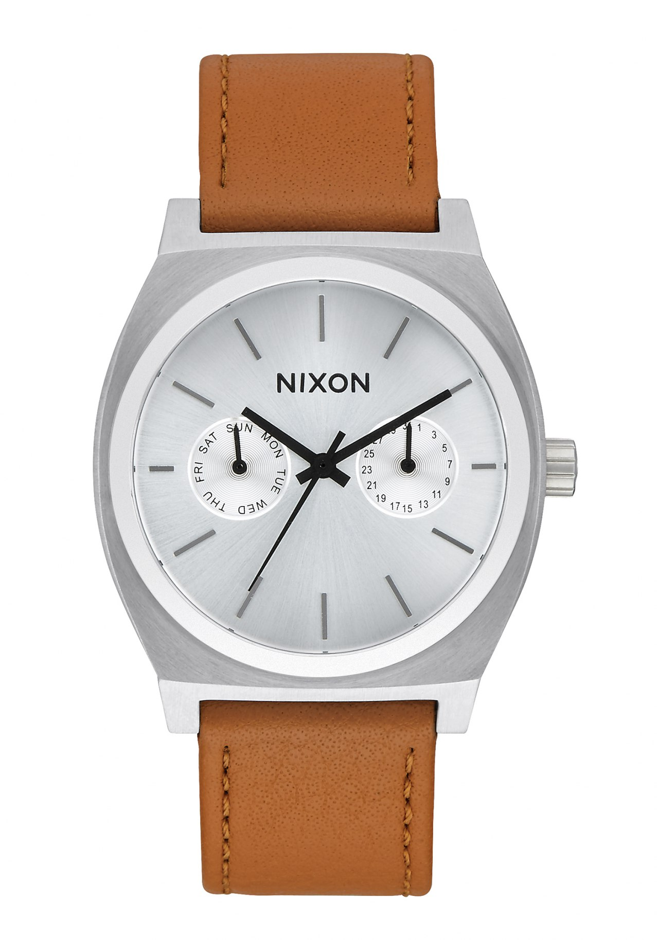 Nixon The Time Teller Deluxe Leather Silver Sunray / Saddle
