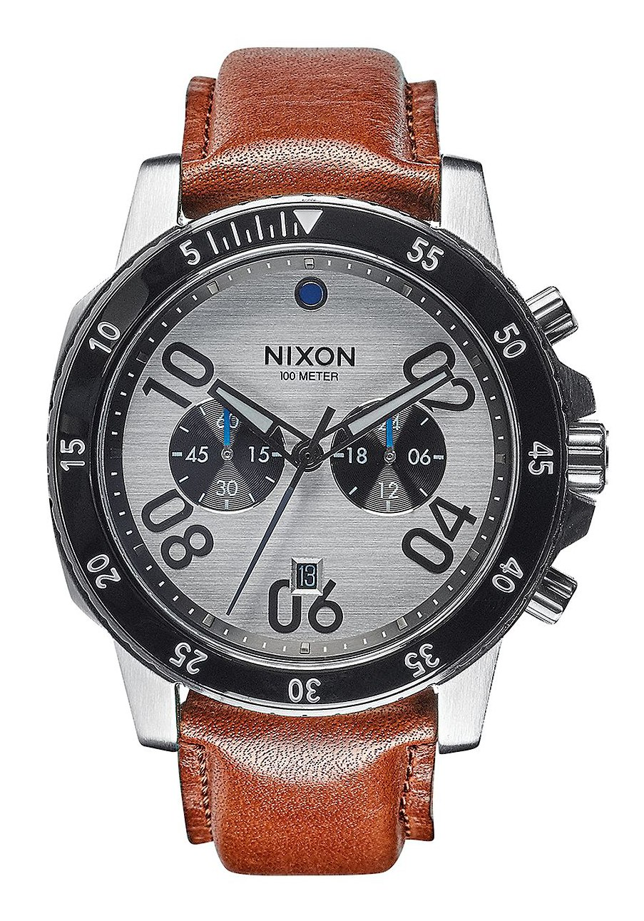 nixon the ranger chrono leather silver saddle a9402092 nur 299 00. Black Bedroom Furniture Sets. Home Design Ideas