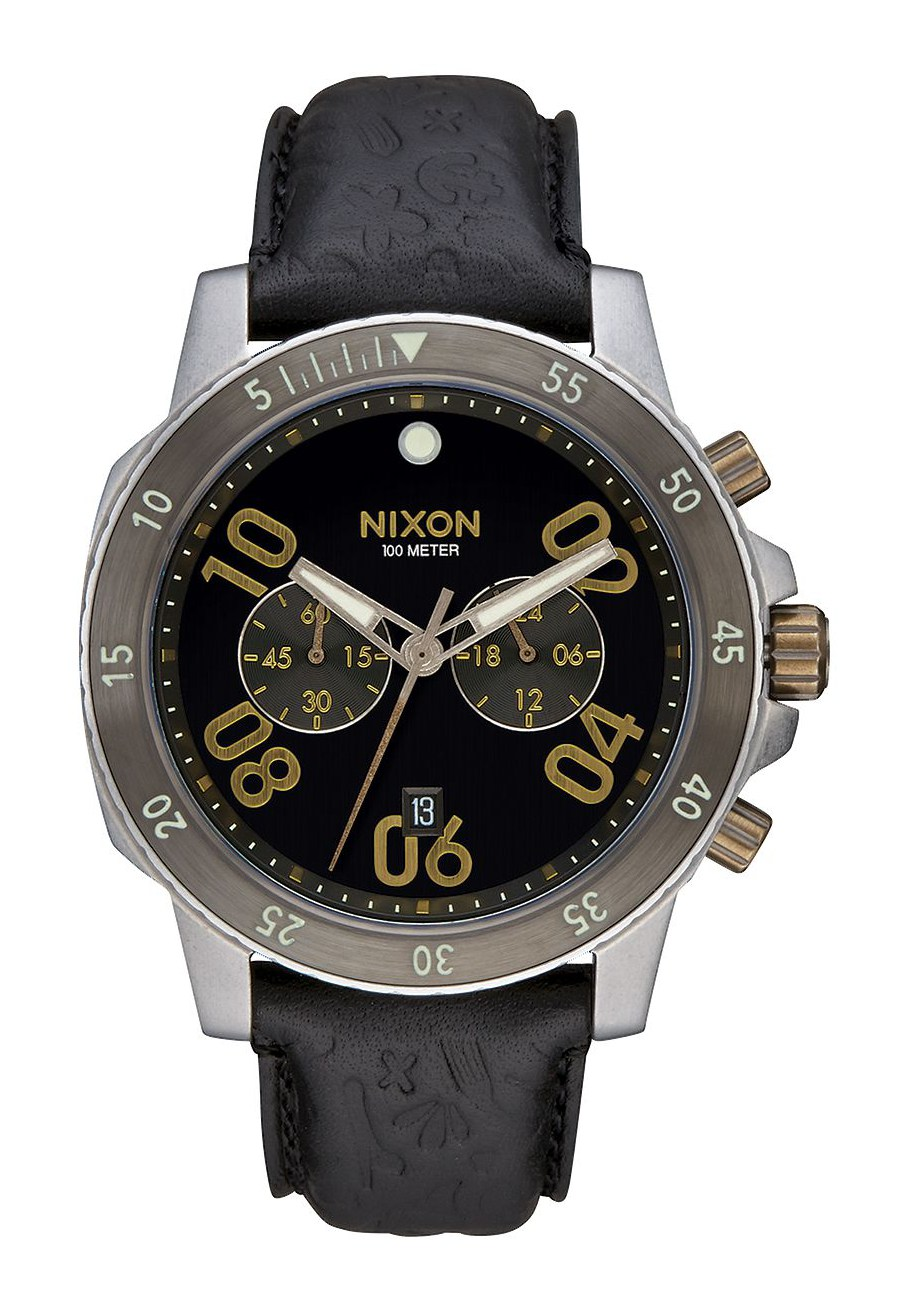 Nixon The Ranger Chrono Leather Black Brass