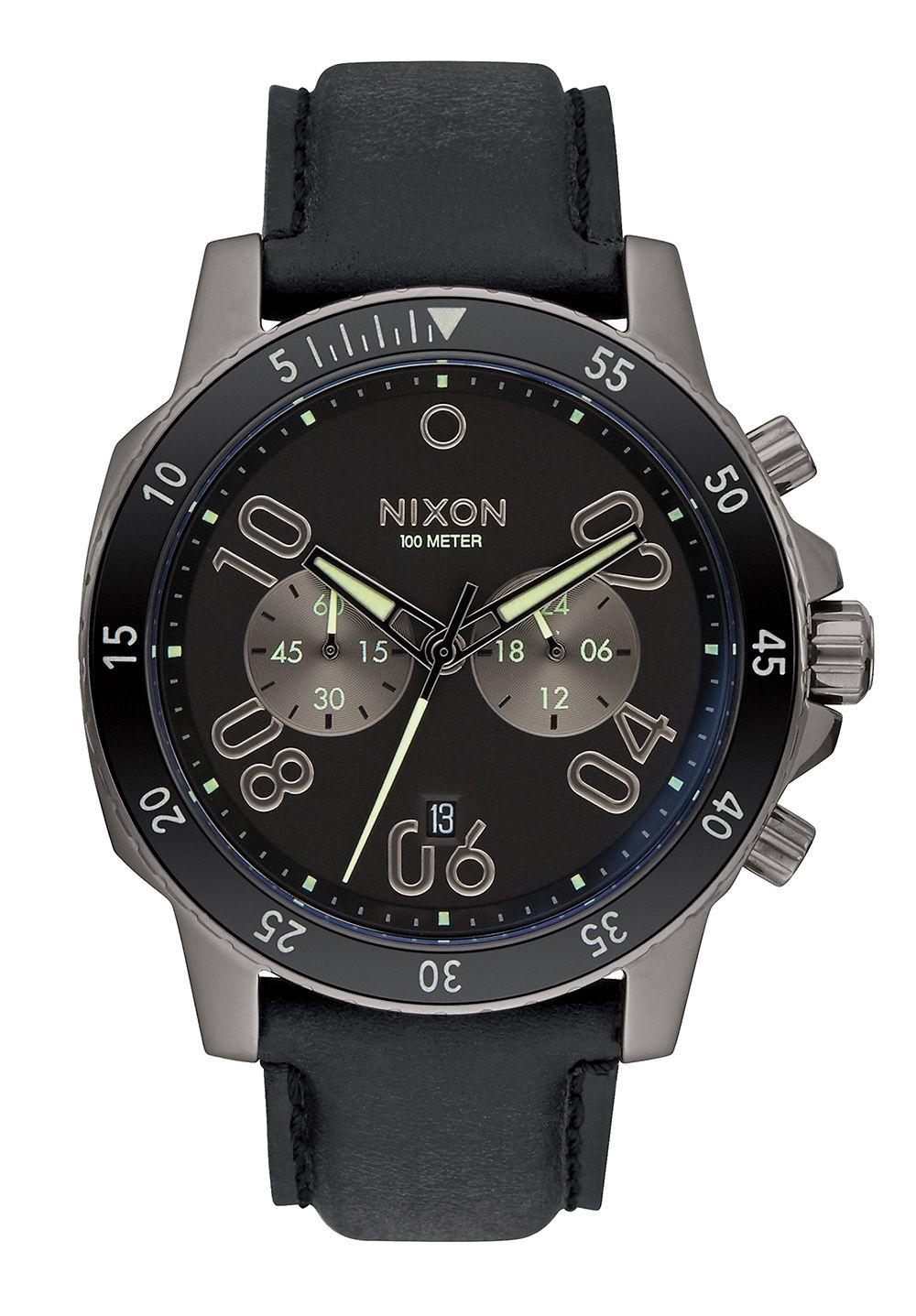 Nixon The Ranger Chrono Leather Gunmetal / Lum