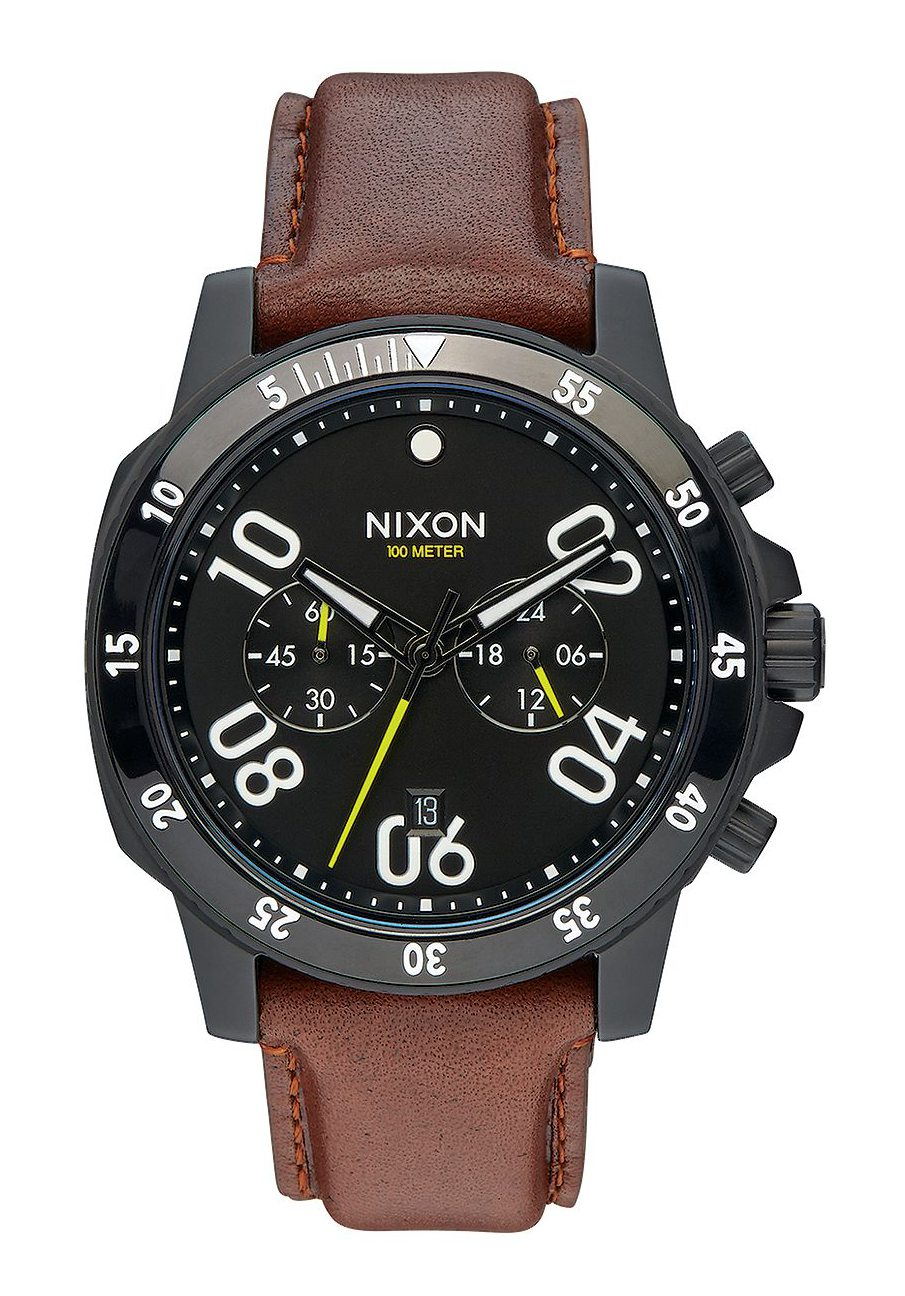 Nixon The Ranger Chrono Leather All Black Brown