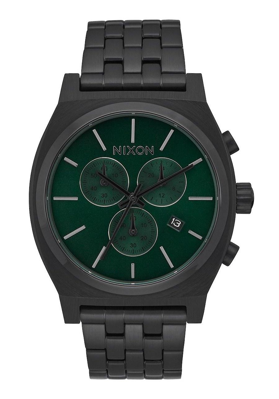 Nixon The Time Teller Chrono All Black / Green Sunray