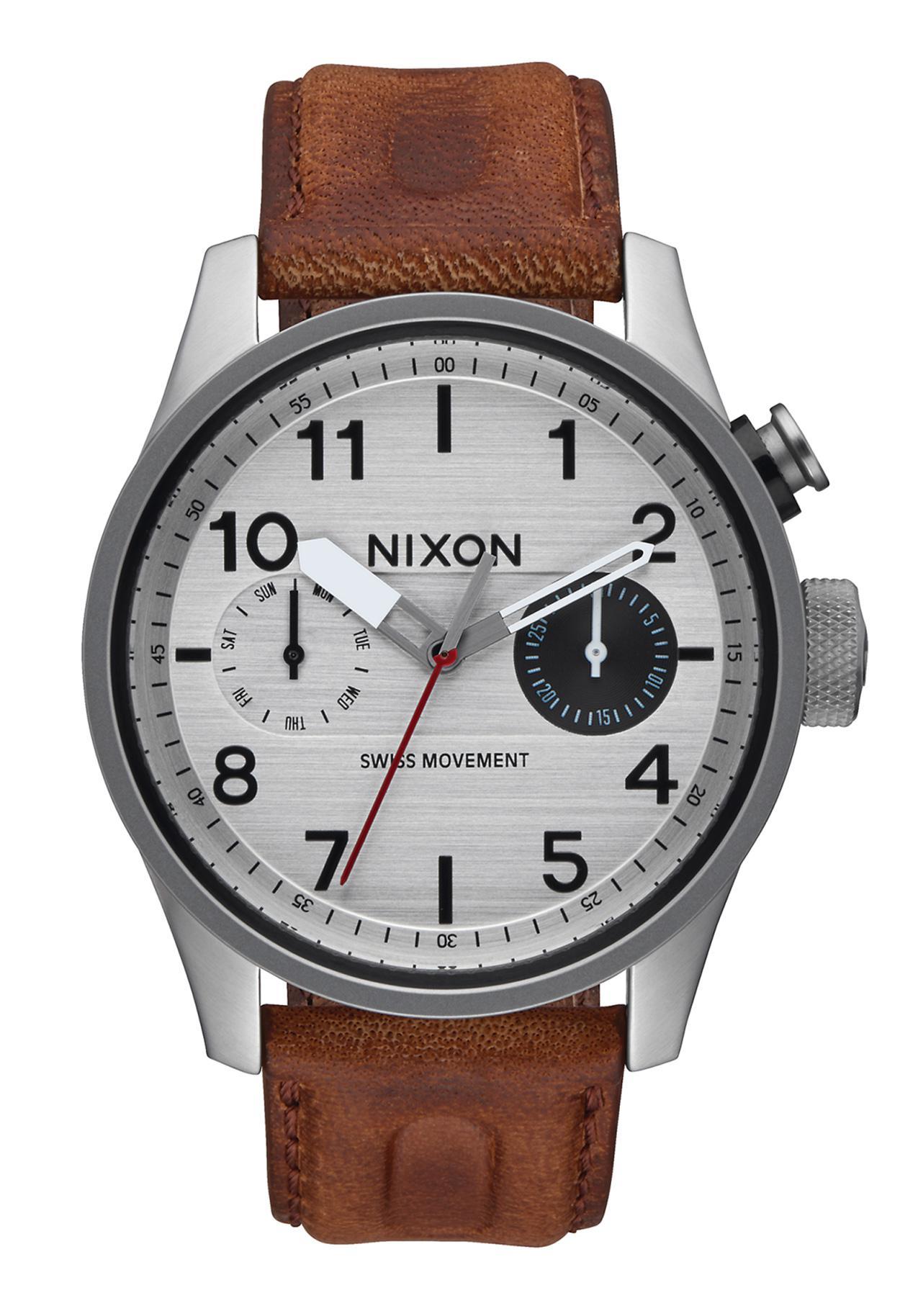 Nixon The Safari Deluxe Leather Silver / Brown