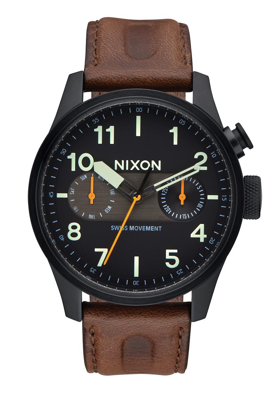 Nixon The Safari Deluxe Leather Black / Lum / Brown