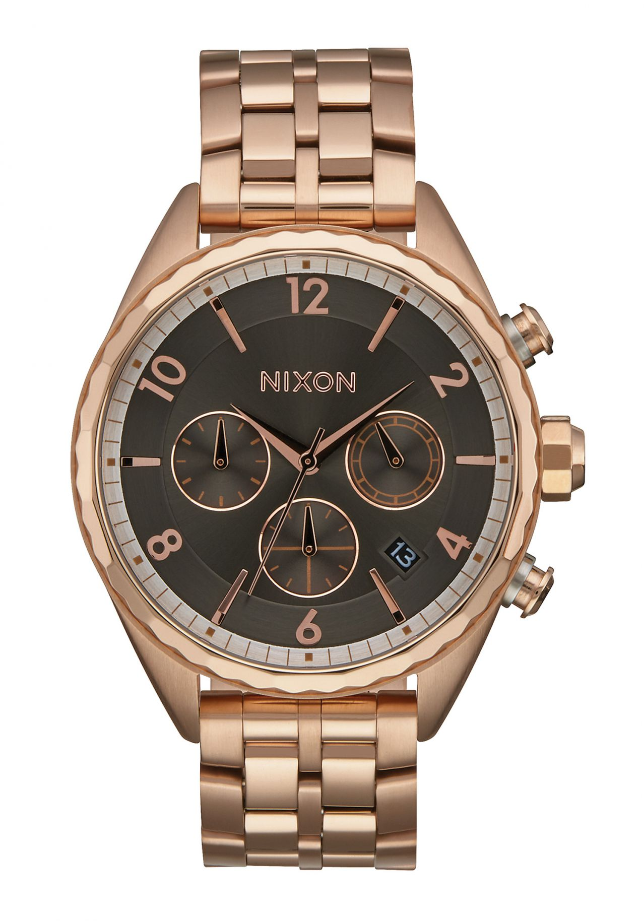 nixon the minx chrono all rose gold gunmetal a9932046 nur 199 00. Black Bedroom Furniture Sets. Home Design Ideas